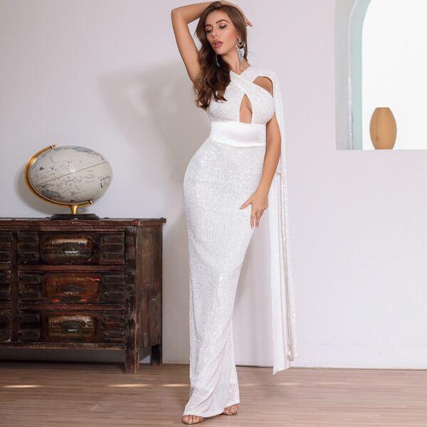 DKRX Cape Sleeve Crisscross Peekaboo Sequin Prom Dress, White