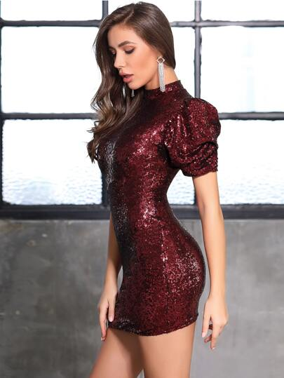 DKRX Mock Neck Puff Sleeve Sequin Bodycon Dress