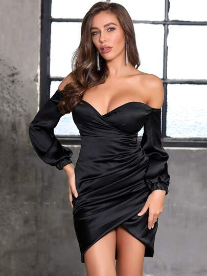 DKRX Off Shoulder Wrap Ruched Satin Bodycon Dress