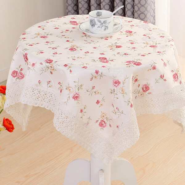 Floral Overlay Print Lace Rim Tablecloth, White