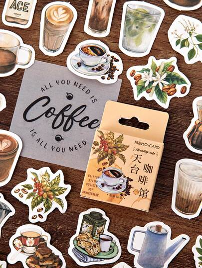 46pcs Boxed Coffee Cup Print Sticker