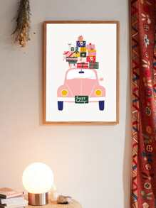 Car & Gift Box Wall Art Print Without Frame