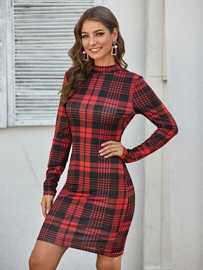 Mock Neck Plaid Fitted Dress