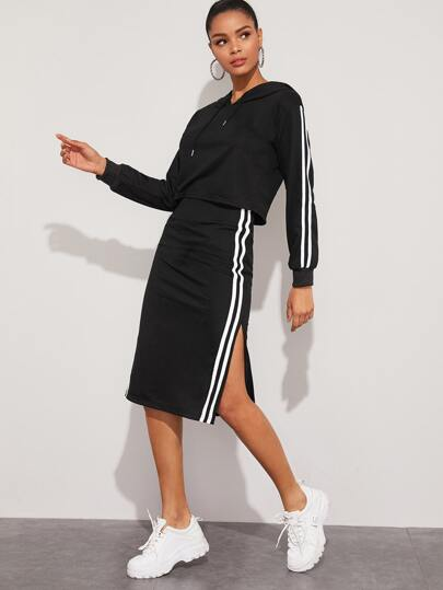 Side Striped Drawstring Hoodie & Split Side Skirt