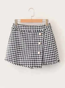 Pearl Button Tweed Culotte Shorts