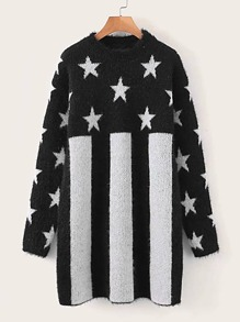 Star & Striped Pattern Fluffy Knit Sweater