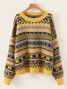 Fair Isle Drop Shoulder Sweater