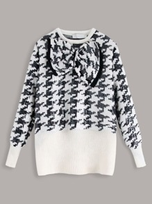 Big Bow Contrast Sequins Houndstooth Sweater
