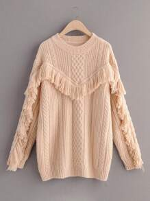 Fringe Trim Cable Knit Sweater