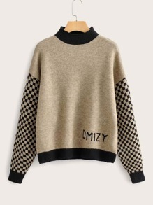 Checker & Letter Graphic Drop Shoulder Sweater
