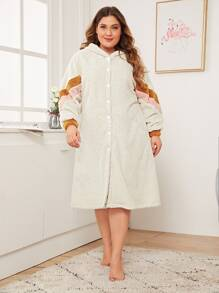 Plus Colorblock Plush Hooded Robe