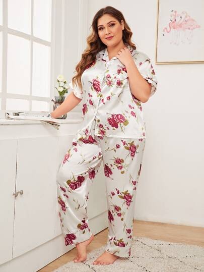 Plus Floral Satin Button-up PJ Set