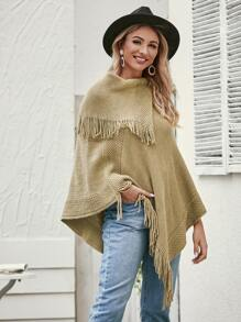 Fringe Detail Mock Neck Poncho Sweater