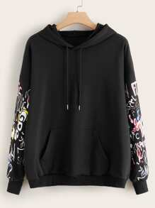 Plus Letter Graphic Drawstring Hoodie