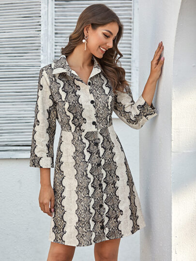 Snakeskin Print Button Front Shirt Dress