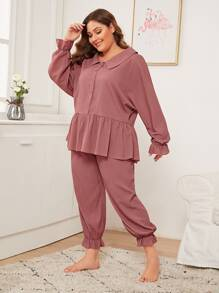 Plus Textured Ruffle Trim PJ Set