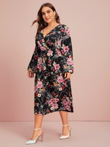 Plus Surplice Neck Floral Print A-line Dress