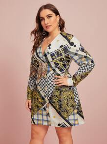 plus v-neck scarf print fitted dress
