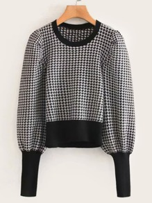 Houndstooth Bishop Sleeve Contrast Trim Sweater
