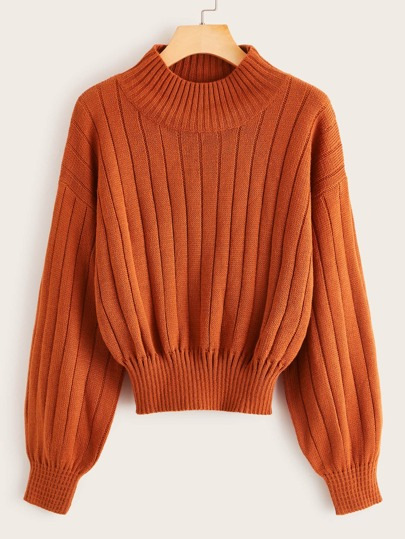 Stand Collar Gathered Hem Sweater