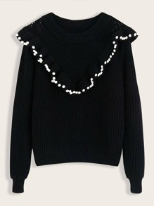 Pearls Beaded Ruffle Trim Sweater