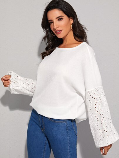 Solid Eyelet Embroidery Sleeve Sweater