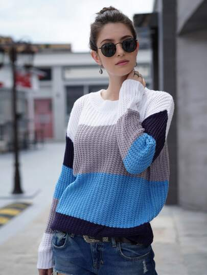 Cut And Sew Waffle Knit Sweater