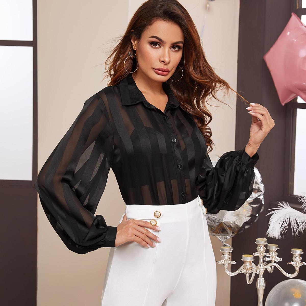 Прозрачная блуза в полоску с оригинальным рукавом