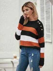 Colorblock Drop Shoulder Button Detail Sweater