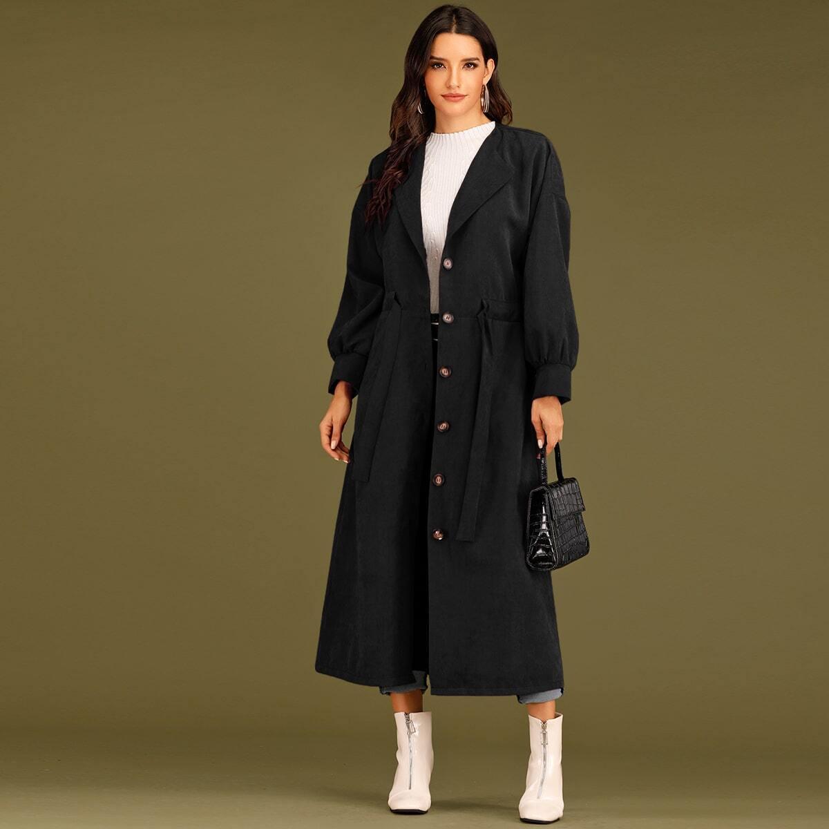 Schwarz Ziehbändchen Einfarbig Elegant Oberbekleidung