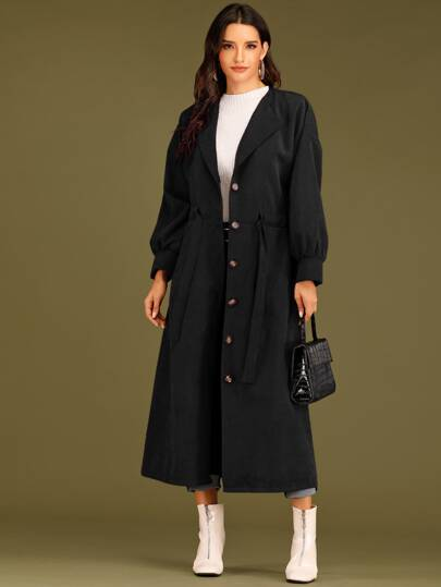 Single Breasted Drawstring Waist Coat