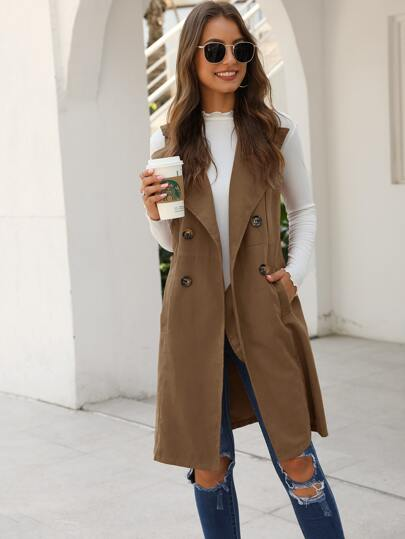 Double Breasted Pocket Side Vest Coat