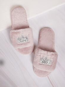 Crown & Glitter Detail Fluffy Slippers