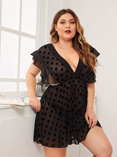 Plus Polka Dot Ruffle Trim Night Dress