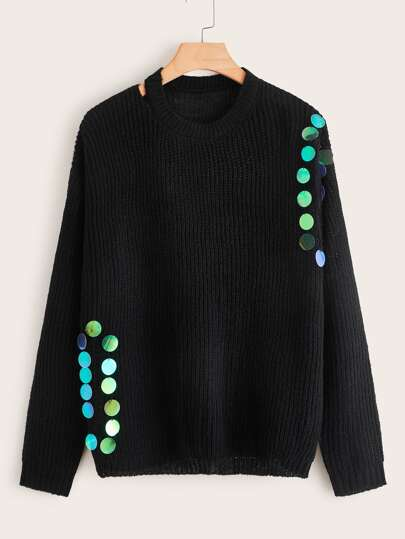 Plus Contrast Sequin Ribbed Knit Sweater