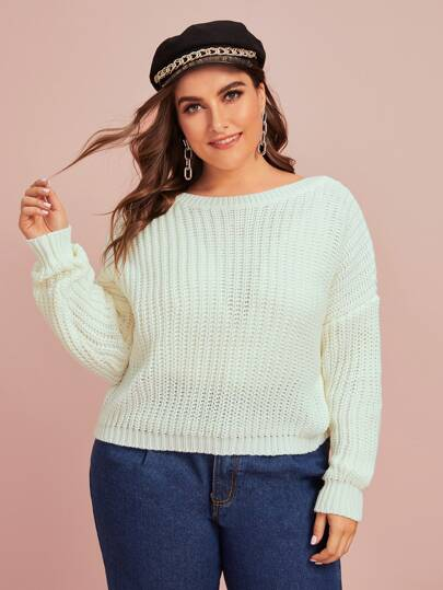 Plus V-cut Back Drop Shoulder Sweater