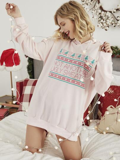 Christmas Slogan Graphic Oversized Pink Hoodie