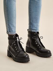 Lace-up Lug Sole Combat Boots