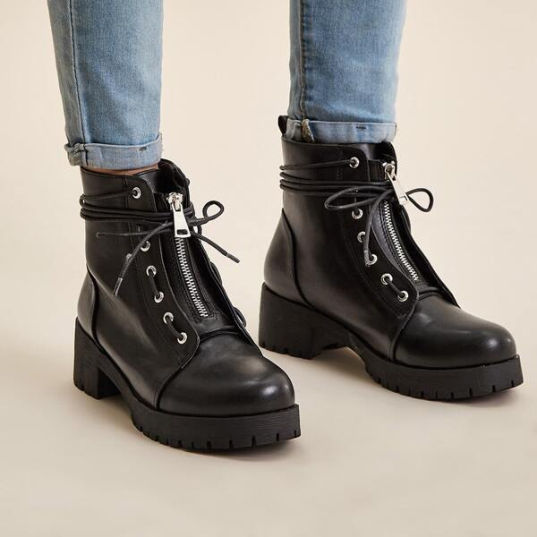 Lace-up Lug Sole Combat Boots, Black