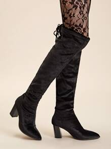 Point Toe Knee Length Velvet Chunky Boots