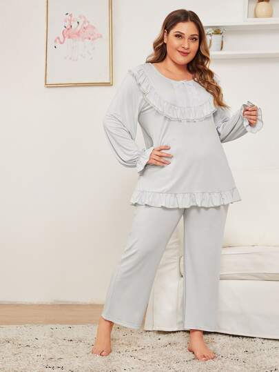 Plus Contrast Lace Ruffle Trim PJ Set