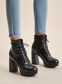 Lace-up Croc Embossed Chunky Boots