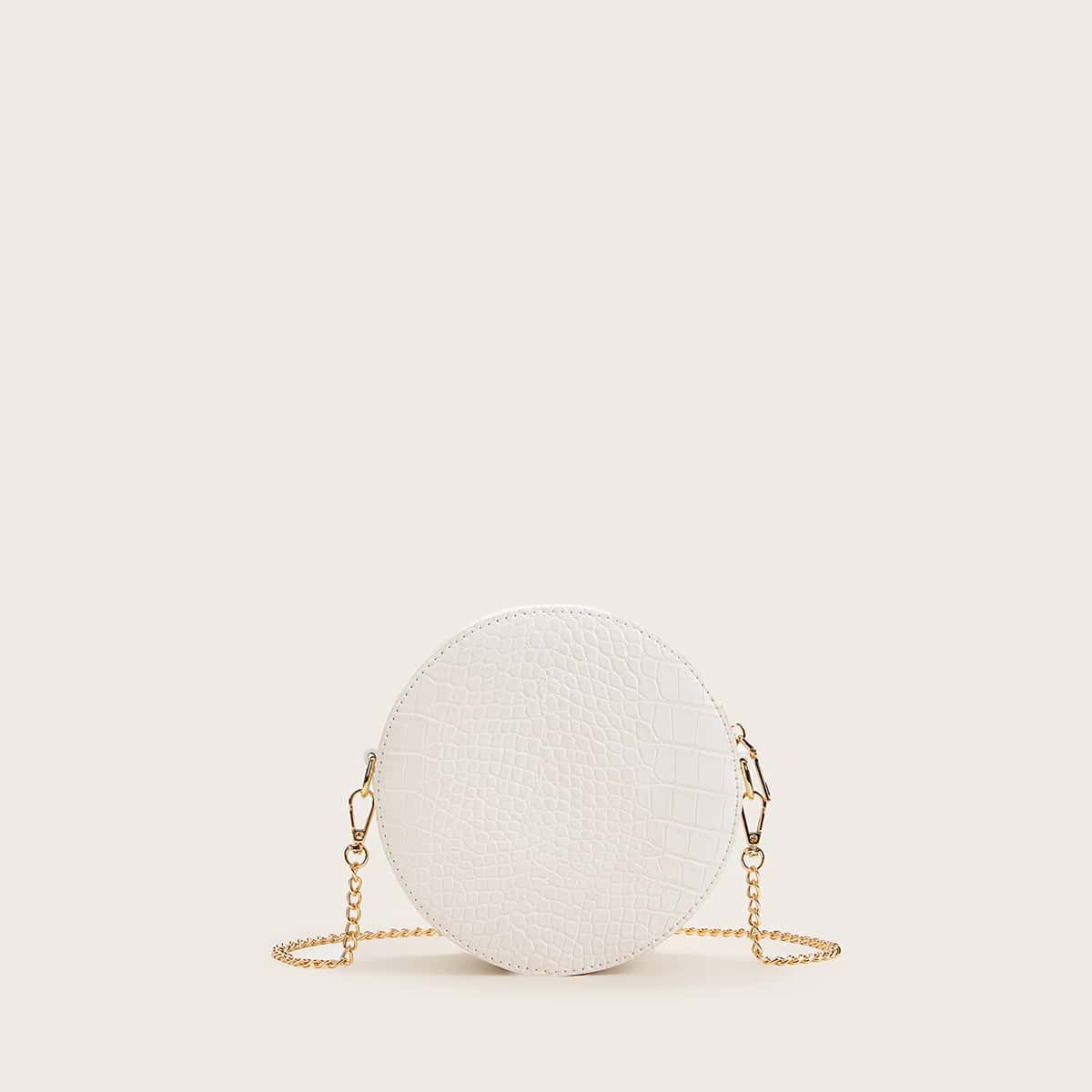 Рельефная круглая сумка на цепочке