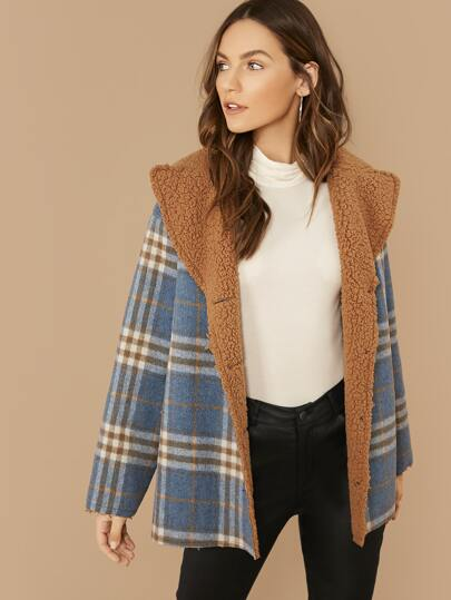 Single Breasted Contrast Lining Plaid Coat