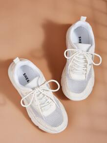 Contrast Mesh Chunky Sneakers