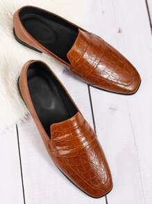 Square Toe Croc Embossed Loafers