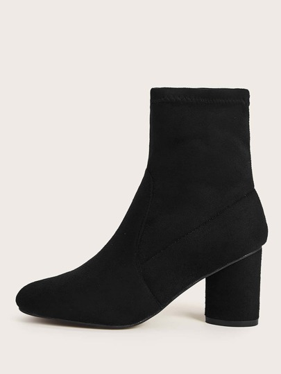 Suede Chunky Heeled Sock Boots
