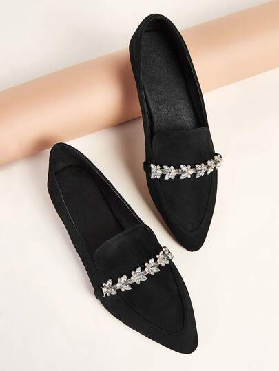 Point Toe Rhinestone Decor Flat Loafers