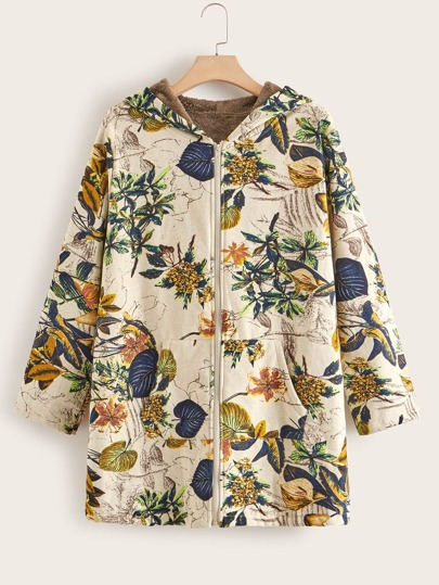 Plus Plants Print Sherpa Lined Hooded Coat