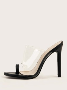 Toe Ring Clear Stiletto Heeled Mules